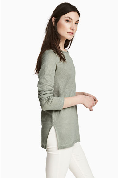 Long-sleeved linen top - Khaki green marl - Ladies | H&M CN