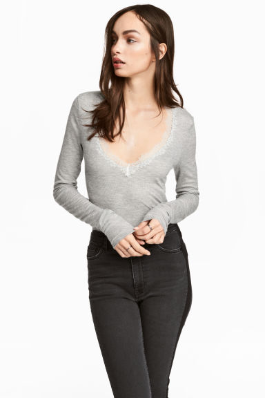 Ribbed jersey top - Grey marl - Ladies | H&M CN