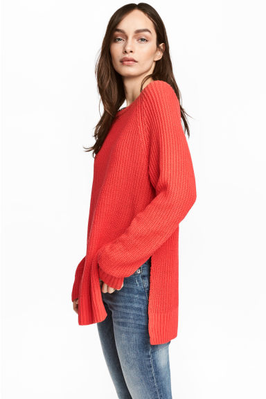 Knitted jumper - Red -  | H&M