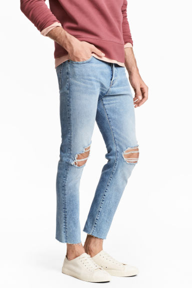 Relaxed Skinny Cropped Jeans - Light denim blue - Men | H&M