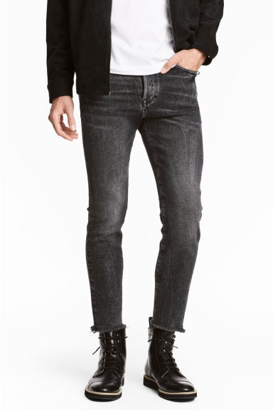 Relaxed Skinny Cropped Jeans - Black washed out - Men | H&M GB