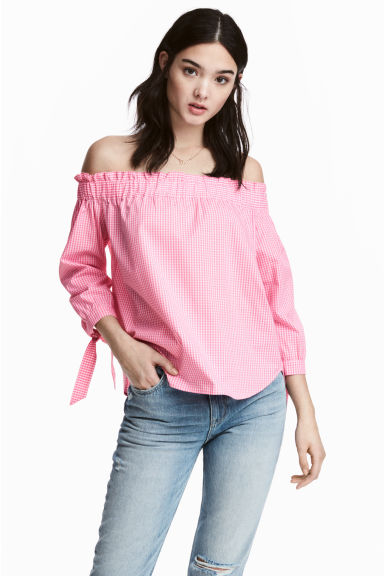 Off-the-shoulder blouse - Pink/White check - Ladies | H&M CA