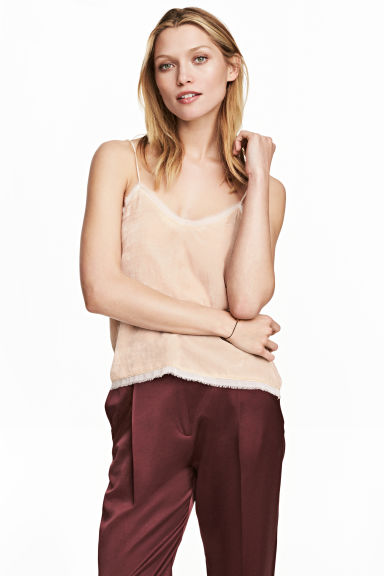 Velvet top - Light beige - Ladies | H&M CN