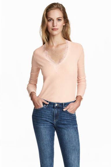Ribbed top - Powder pink - Ladies | H&M CN