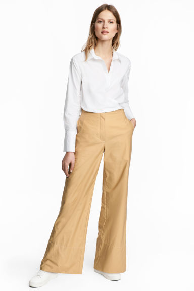 Wide cotton trousers - Beige -  | H&M CN