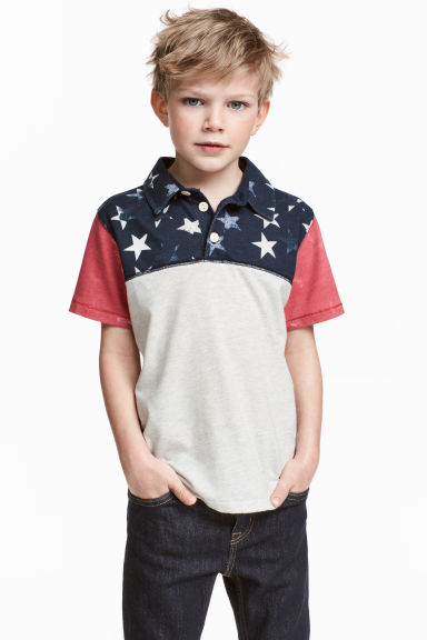 Jersey polo shirt - Dark blue/Stars -  | H&M IE