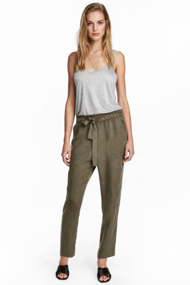 Lyocell trousers - Khaki - Ladies | H&M