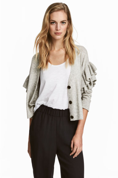 Knitted frilled cardigan - Light grey marl - Ladies | H&M GB