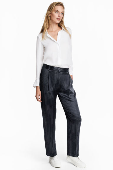 Pinstriped suit trousers - Dark blue/Striped - Ladies | H&M CN