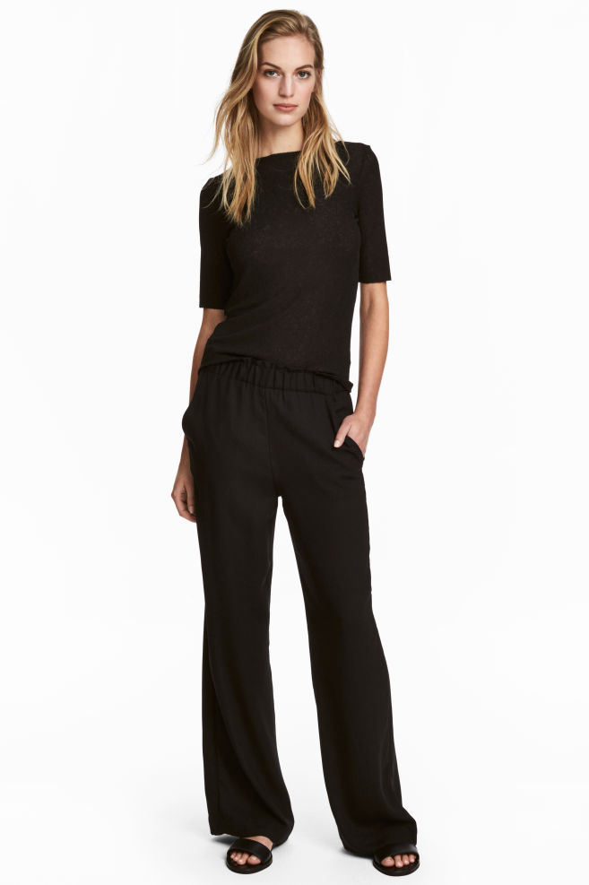 6af08f919a6 Wide pull-on trousers - Black - Ladies