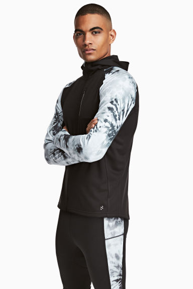Hooded running jacket - Black/Patterned - Men | H&M CN