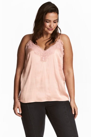 H&M+ Satin top - Powder pink - Ladies | H&M CN