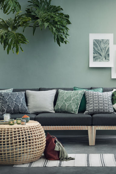 Leaf-print cushion cover - Green - Home All | H&M GB