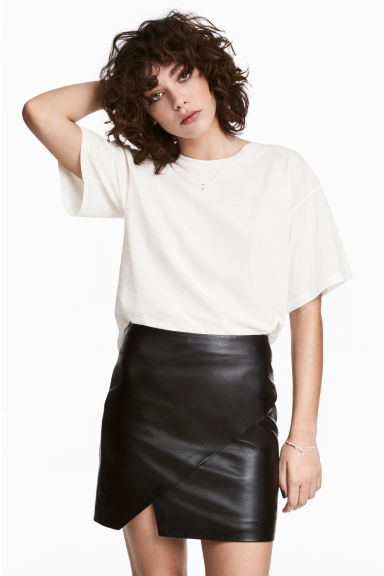 Leather wrap skirt - Black -  | H&M IE