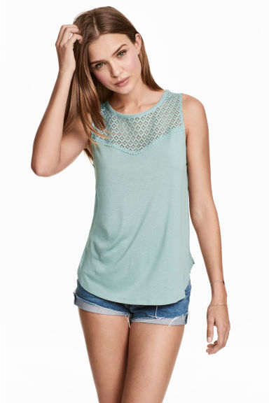 Sleeveless top with lace - Dusky green - Ladies | H&M CN
