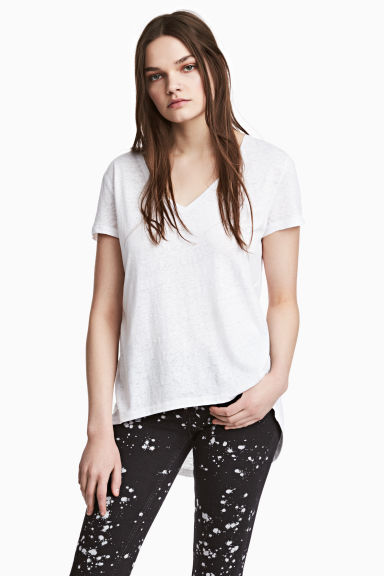Top in jersey con scollo a V - Bianco - DONNA | H&M IT