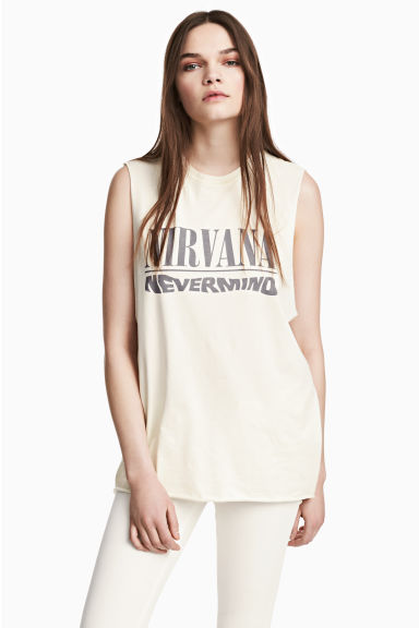 Canotta con stampa - Bianco naturale/Nirvana -  | H&M IT