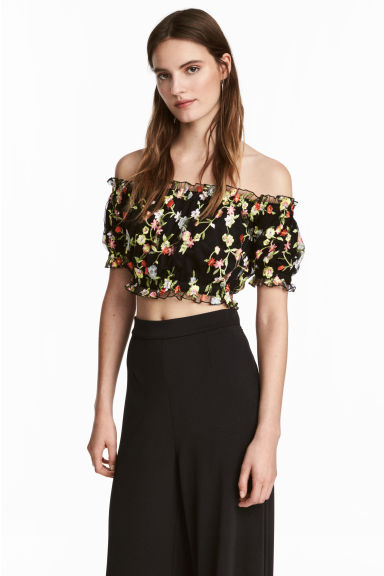 Off-the-shoulder top - Black/Floral - Ladies | H&M CN