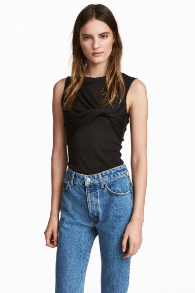 Crêpe jersey top - Black -  | H&M