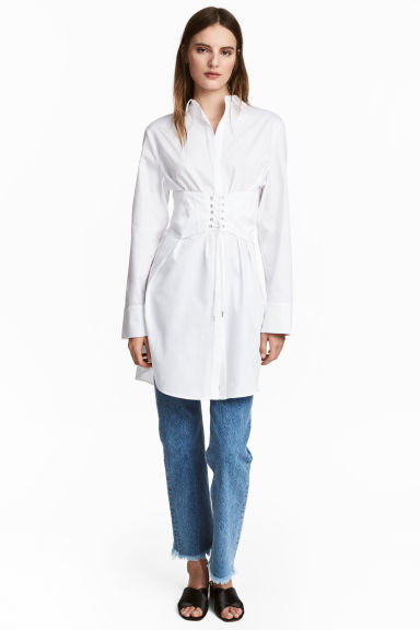 Long cotton shirt - White -  | H&M