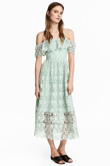 Off-the-shoulder lace dress - Mint green - Ladies | H&M