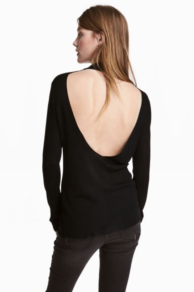 Ribbed jumper - Black - Ladies | H&M CN