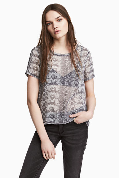 Chiffon top - Grijs/dessin - DAMES | H&M BE