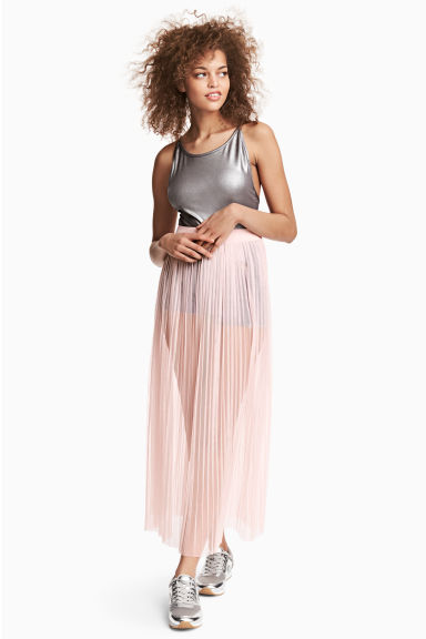 Pleated mesh skirt - Light pink - Ladies | H&M CN
