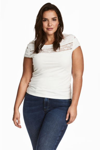 H&M+ Top with a lace yoke - White - Ladies | H&M CN