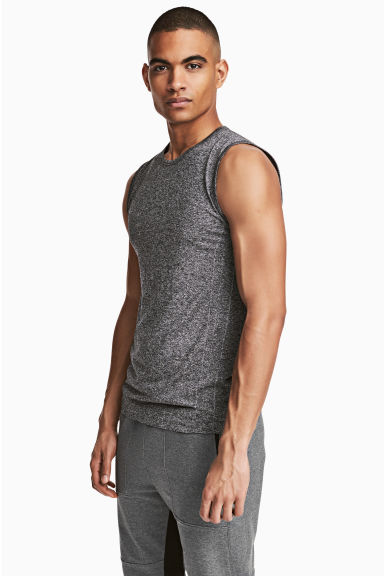 Seamless sports top - Dark grey marl - Men | H&M