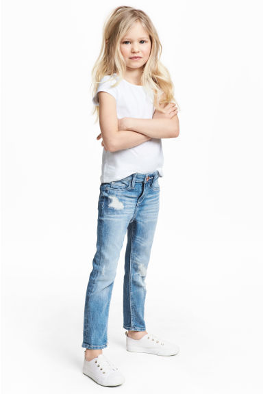 Slim fit Worn Jeans - Ljus denimblå -  | H&M FI