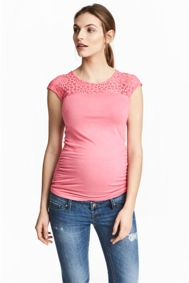 MAMA Top with lace - Pink - Ladies | H&M CN