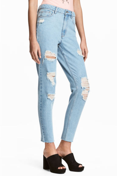 Mom Jeans Trashed - Bleu denim clair - FEMME | H&M FR