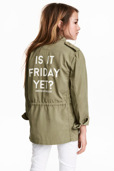 Lyocell-blend cargo jacket - Light khaki green - Kids | H&M CN