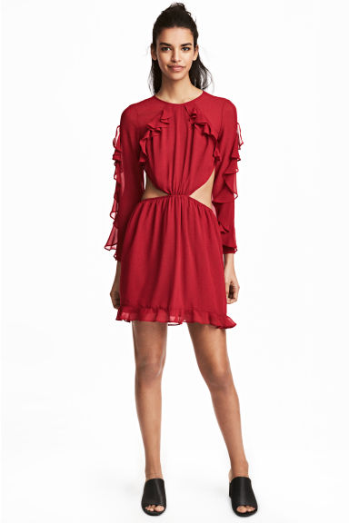 Frilled dress - Red -  | H&M