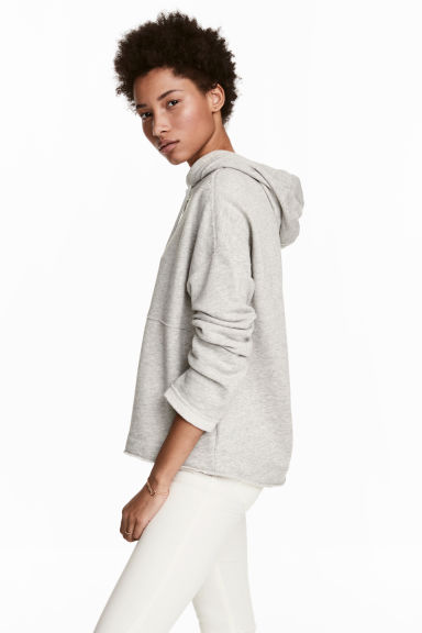 Hooded top with raw edges - Light grey marl -  | H&M