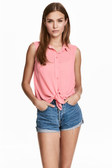 Sleeveless blouse - Pink - Ladies | H&M CN