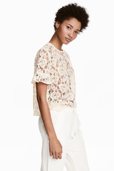 Flounce-sleeved lace blouse - Natural white -  | H&M