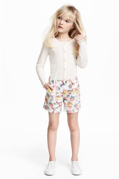 Cotton shorts - White/Patterned - Kids | H&M CN