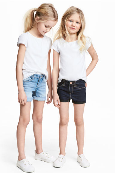 2-pack denim shorts - Denim blue/Dark denim blue - Kids | H&M