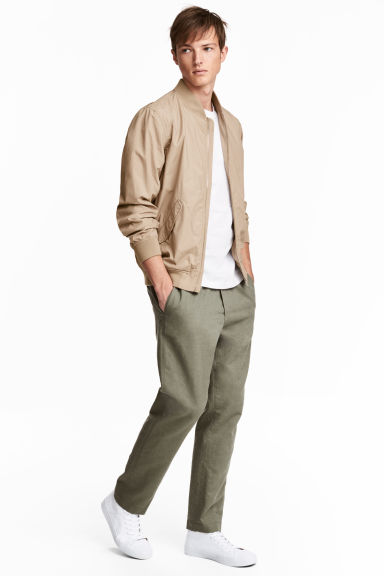 Linen-blend trousers - Khaki green -  | H&M