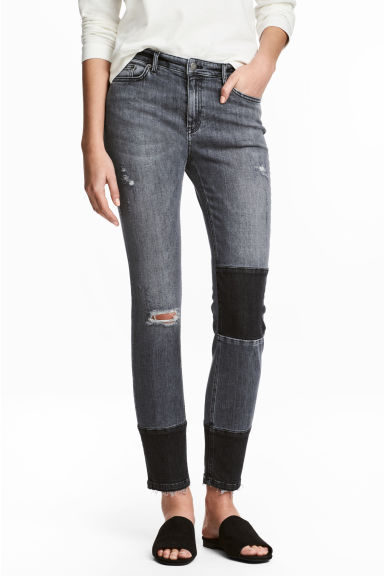 Patched Ankle Jeans - Dark grey denim - Ladies | H&M