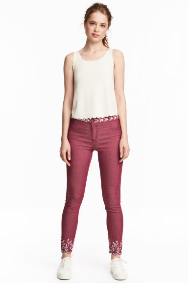Embroidered trousers - Vintage pink -  | H&M