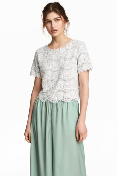 Jersey top with lace - Grey marl -  | H&M