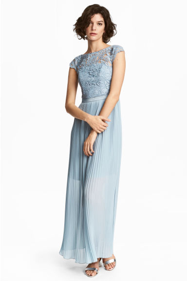 Maxi dress with lace bodice - Light blue - Ladies | H&M CN