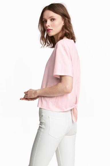 Tie-detail top - Light pink -  | H&M IE