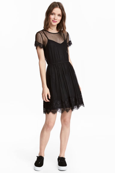 Mesh dress - Black -  | H&M