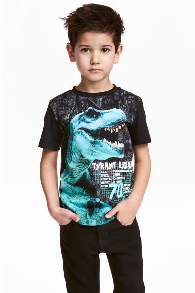 Printed T-shirt - Black/Dinosaur -  | H&M GB