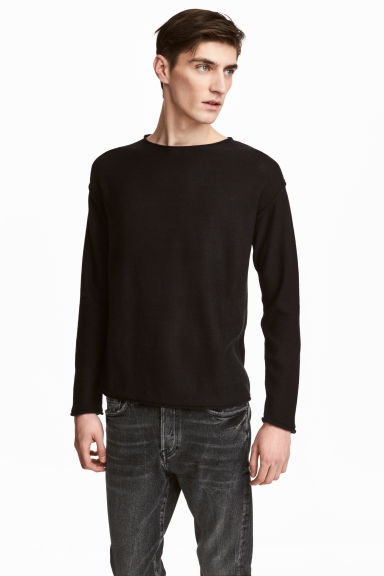 Cotton-blend jumper - Black - Men | H&M