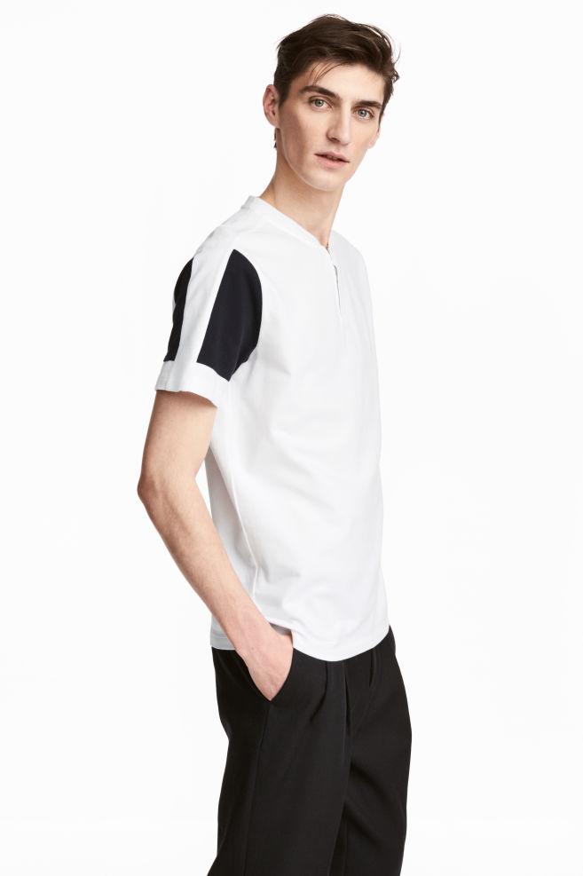 2db208aa Cotton piqué T-shirt - White - Men   H&M ...